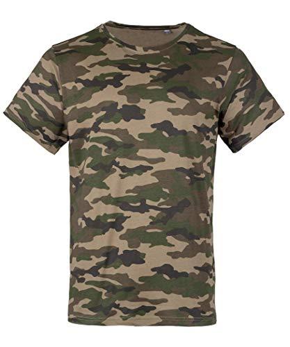 Camouflage T-Shirt Herren aus Baumwolle | Army Tshirt Tarnmuster Woodland Black-camo Wood Camo XL