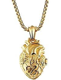 Fate Love Edelstahl Anatomisches Herz Medaillon Anhänger Halskette für Männer Frauen, Silber/Gold/Schwarz