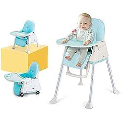 LADUO Chaise Haute Bebe 3 en 1 Évolutive, Réglable et Pliable avec 4 Roues, Tablette Amovible, Plateau Clisable, Coussin Bébé Confort (Bleu)