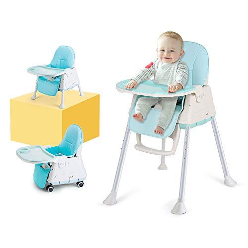 Trona Para Bebé,LADUO 3 en 1 Silla Alta de Bebés Ajustable y Plegable Con 4 Ruedas, Estante Extraíble, Bandeja Ajustable, Cojín Comfort para Bebé (Azul)