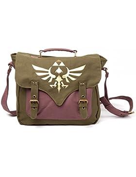 Zelda Tasche Golden Triforce Green Canvas in Grün Braun 100% gewachster Baumwolle | Messenger Bag | Umhängetasche