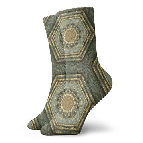 HOKZONB Casual Crew-Socken traditionelles Gold viktorianisches Muster - 3D Makro Kaleidoskop Foto - Grün mit Perlen Knöchelsocken kurz Kleid Kompressionssocken für Damen Herren 30 cm