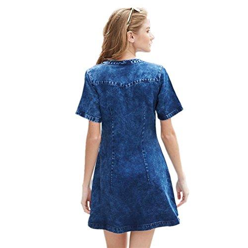 SHISHANG Robe en denim pour femme nouvelle mode européenne et américaine Coupe en V section mince de la longue section de jupe courte denim summer blue g2922-003