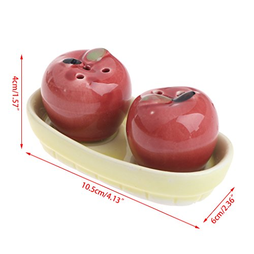 Kofun 1 Pair Apple Ceramic Salt Pepper Shakers Set Seasoning Bottle Wedding Party Gift Salt Shaker Set