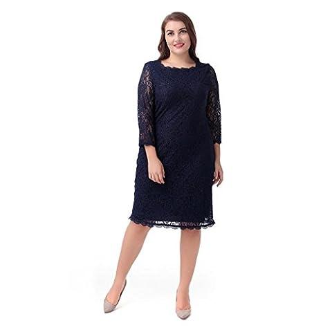 robe de dentelle tempérament femmes de grande taille col rond manches sept jupe droite , blue , 5xl