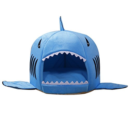 Pet Products Warm Soft Pet House Sleeping Bag Shark Dog Kennel Cat Bed Cat House-Blue M