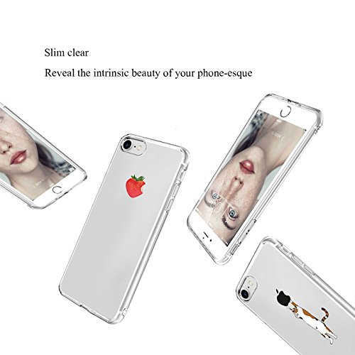 "iPhone6 6s Hülle Caler® Weiche flexible Silikon-Handy-Hülle Transparente Ultra Slim TPU Rundum-schutz Tasche Etui Silikon Bumper Schutzhülle in Premium Dein Smartphone Case Cover für iPhone 6 6S 4.7""( Erdbeeren"
