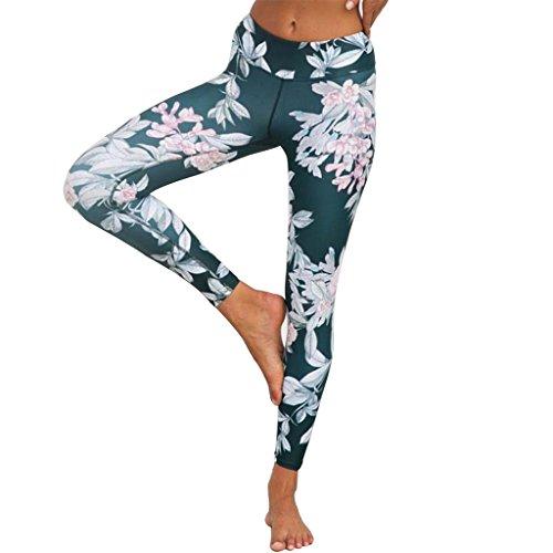 GWELL Damen Blumen Printed Sport Leggings Yoga Pants Strumpfhosen Fitnesshose L