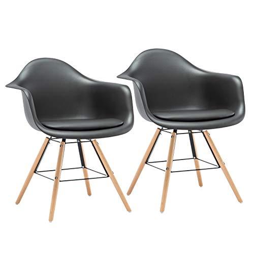 LLIVEKIT 2X Esszimmerstühle, Schalenstuhl mit Armlehnen,2er Set Retro Stück Esszimmerstuhl mit Polsterstuhl Design,Gestell aus Massivholz und Metall,Sitzfläche aus Kunstleder (Schwarz) -