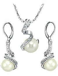 Yoursfs Chapado en Oro Conjunto de Collar y Pendientes con Colgante de bola de Cristal Perla blanco para Mujer