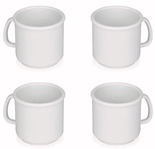 Viva Haushaltswaren 4 x Kaffeebecher/Trinkbecher 0,3 L Set in Weiß, BPA-frei, stapelbare Kunststoff...