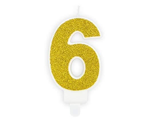 Feste Feiern Geburtstagsdeko Zahlenkerze 6 Gold Crush Sechs I Dekoration Geburtstag Kuchenkerze Nr. 6. Party Happy Birthday Std Muffin