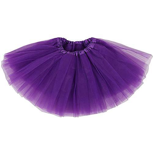Ruiuzi Damen Tütü Rock Minirock 4 Lagen Petticoat Tanzkleid Dehnbaren Mini Skater Tutu Rock Erwachsene Ballettrock Tüllrock für Party Halloween Kostüme Tanzen (lila) (Lila Tutu Kostüm)