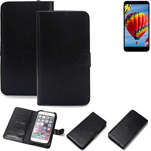 K-S-Trade 360° Wallet Case Handyhülle für Vestel V3 5030 Schutz Hülle Smartphone Flip Cover Flipstyle Tasche Schutzhülle Flipcover Slim Bumper schwarz, 1x