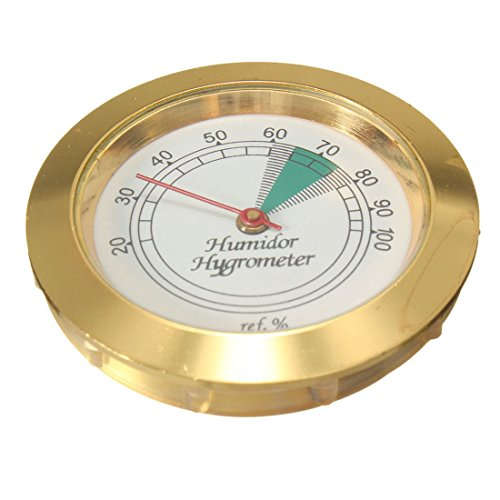 SODIAL(R) 1pz 43mm Calibrate-able Oro Telaio Tondo Igrometro Per Sigaro Humidor Metallo