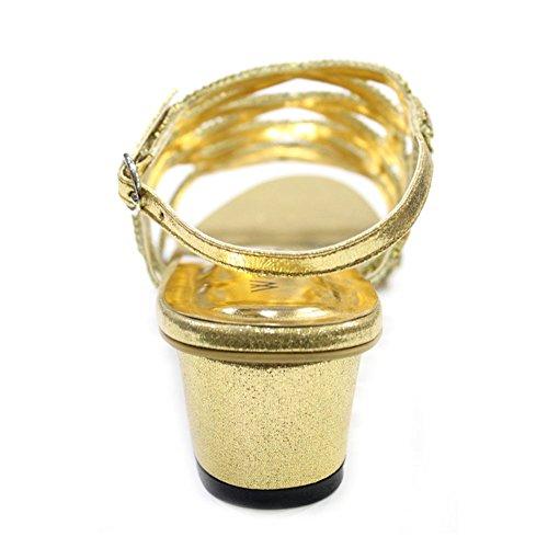 W & W Frauen Damen mit rutschfester über Block Absatz Hochzeit Party Abendkleid Brautschmuck Schuhe Sandalen Size4–10(Rivo) Gold