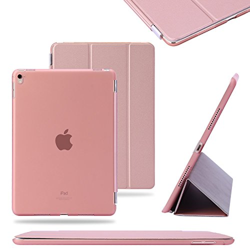 TKOOFN® Funda Carcasas diseñado poliuretano para Apple iPad Pro 9.7 pulgadas Apple iPad Smart Cover Rosa