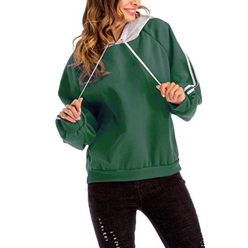 OYSOHE Damen Sweatshirt, Plus Größen Farben Block mit Kapuze Bluse Lose Gestreiftes Bluse Tops(Grün,M)