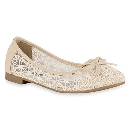 Stiefelparadies Klassische Damen Ballerinas Spitzenstoff Schuhe Schleifen Flats Slippers Pretty Freizeitschuhe Elegante Slip Ons 172770 Creme Total 40 Flandell -