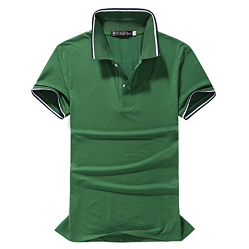 Men's Short Sleeve Classic Solid Cotton Camisa Polo Shirt green