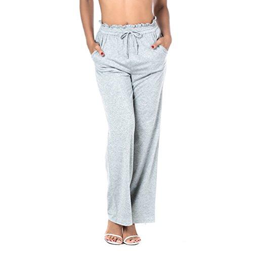 YiLianDa Femme Pantalon De Sport En Maille Minceur Lounge Pantalon Femmes Pant Casual Gris