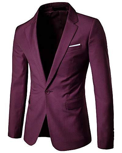 Yanlian Herren Anzug Multi Farbe und Größe der Männer Hübsche Jacken-Blazer für Nachtklub Hochzeit Partei Dunkelrot 5XL