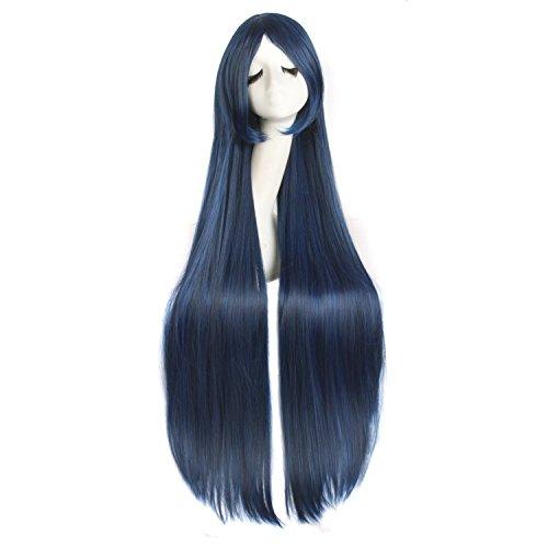 MapofBeauty 100cm/ 39 Pouce Moyen Droit Femmes Droit Perruques (Bleu/Noir)