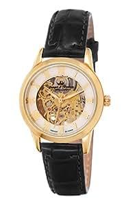 Yonger & Bresson - YBD 8525-03 - Saumur - Montre Femme - Automatique Analogique - Cadran Doré - Bracelet Cuir Noir
