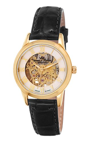Yonger & Bresson – YBD 8525-03 Saumur – Ladies Watch – Analogue – Automatic Gold Dial Black Leather Strap