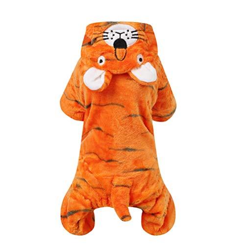 POPETPOP Haustier Kostüm Hund Halloween Anzug Hund Tiger Kostüm Hund Overall Haustier Welpen Zubehör - Größe S - Tiger Kostüm Für Den Hunde