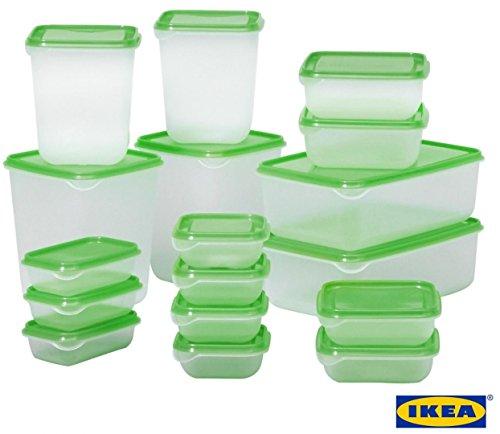 Ikea Pruta standard haltbare Kunststoffbehälter für Lebensmittel, 17 Stück, für Kühlschrank und Gefrierschrank grün