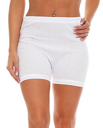 3er Pack Damen Slip mit Bein, weiß Muster (Schlüpfer, Unterhose) (4209 HOA)  Weiß