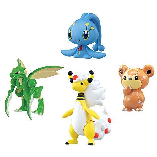 Tomy Pokémon - T18416 - Figurine Manga - Pharamp, Manaphy, Teddiursa, Insecateur - Pack de 4