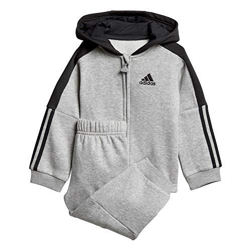 adidas Baby Logo Full Zip Hooded Fleece Trainingsanzug, Medium Grey Heather/Black, 98