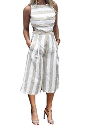 Minetom Boutiquefeel Damen Stripe Hohe Taille Wide Leg lange Hose Jumpsuits Rompers Khaki DE 44 (Leg Pants Velvet Wide)