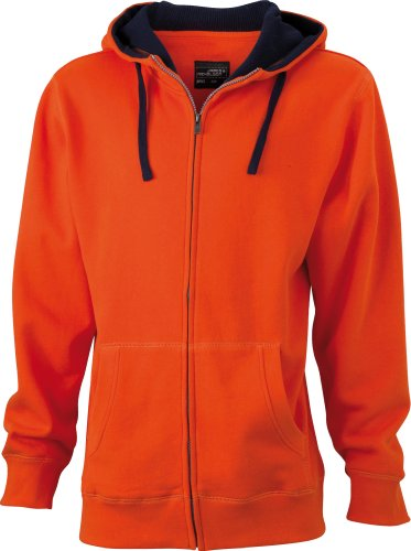 James & Nicholson JN962 Lifestyle Sweat zippé à capuche pour femme Orange - Dunkelorange/Marine