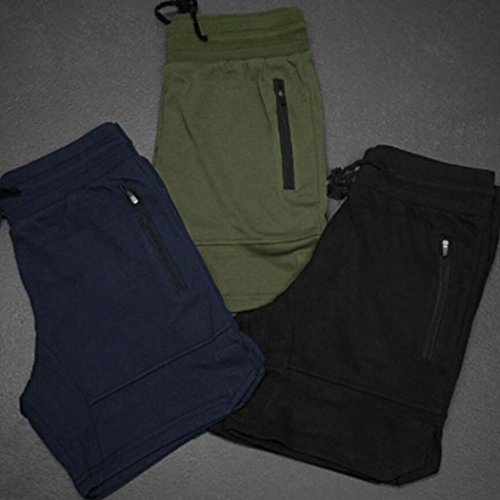 Amoystyle-Mens-Gym-Workout-Shorts-Fitted-Jogger-with-Zipper-Pocket