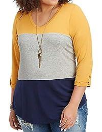 Talla Grande Manga 3 4 Escote Triangular en V Color de Contraste Bloque de Color  Rayas Stripe Blusón Blusa T-Shirt Camiseta Playera… 5a58e3acf5636