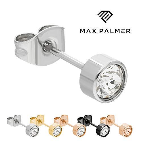 Max Palmer Kristall Ohrstecker mit Swarovski Kristall - [03.] Stecker: Silber | Kristall: klar | Kristall: 5mm (Für Ring-sets Gold Ihn Und Weiß Sie)