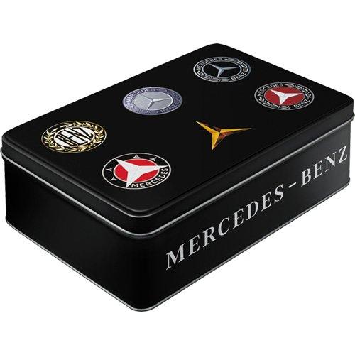 Nostalgic-Art 30746 Mercedes-Benz Logo Evolution – Boîte de Conservation Plat – Boîte Biscuit – Boîte de Rangement – Metall Couvercle à charnière, Multicolore, 23 x 16 x 7 cm