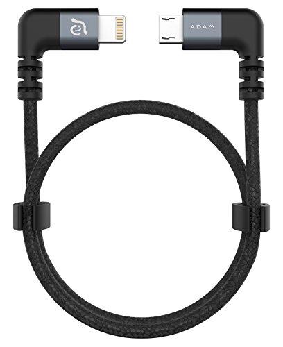 ADAM elements PeAk II Lightning auf Micro-USB Kabel für DJI Remote Controller Mavic- & Spark-Serie, BOSCH Nyon - grau (iPhone & Pad, MFI zertifiziert, 30cm lang, Nylon & Aluminium, Beidseitig 90°)