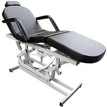 Cama de esteticista EPR-MST-153 en negro camilla de tratamiento cosmético tatuajes terapia con mando a distancia 2 motores ~ 200x85x50-80 cm