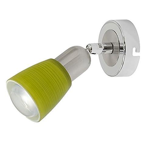 Spot mural applique à une lampe réglable de style moderne en métal couleur chrome avec abat-jour en verre vert, pour salle de bain ou chambre, ampoule non-incl. E14 1x40W 230V