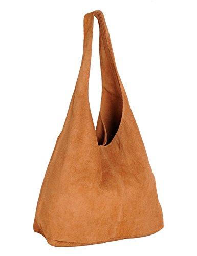 Ledertasche Tasche groß Shopper Wildleder Handtaschen Schultertaschen Beuteltasche Leder Lederhandtasche DIN-A4 Damen
