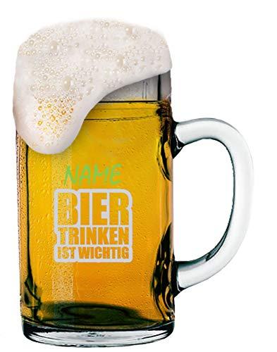 vidueller Gravur [Name] und [Motiv - Bier Trinken IST WICHTIG] - MeinGlas ()