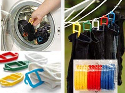 SUPI Sockenklammern Sockenclips Sockenhalter - cleveres Patent aus Finnland - stoffschonend - 15 Stück - je 5 in einer Farbe - drei verschiedene Sortierungen zur Wahl