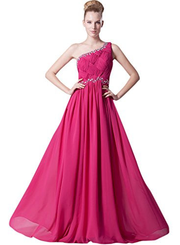 Azbro Women's One Shoulder High Waist Prom Dress Fuchsia