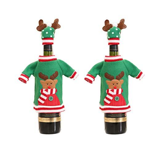 BESTOYARD 2 stücke Weihnachten Neujahr Wein Dekorationen Nette Elch Muster Weinflasche Abdeckungen Pullover mit Hut Home Party Tischdekorationen