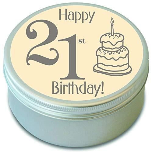 21. Geburtstag-Happy 21st Birthday Duftkerze in Dose-Zwanzig ersten Geburtstag-Thailändische Zitronengras-21. Geburtstag Duftkerze-20HR Brenndauer