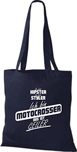 Shirtstown Stoffbeutel du bist hipster du bist styler ich bin Motocrosser das ist geiler navy